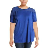 Junarose Womens Casual Top Sheer Mesh Inset