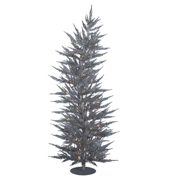 6' Pre-Lit Silver Laser Whimsical Artificial Christmas Tree - Clear Dura-Lit Lights