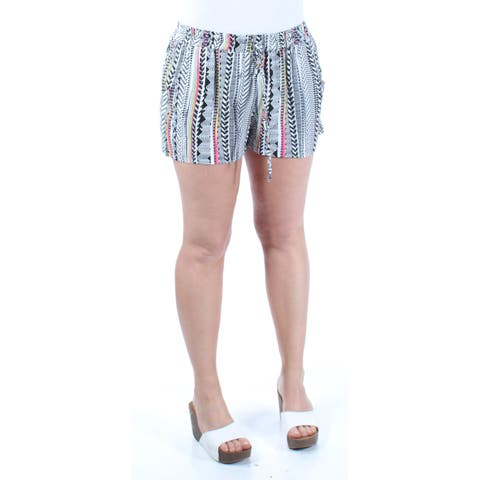 BEBOP Womens White Tie Tribal Cropped Active Wear Short Size: S