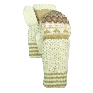 Isotoner Women's Casual Pattern Knit Flip-Top Mittens - os