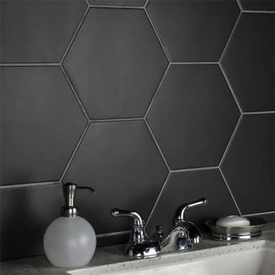 "SomerTile Apini Hex Matte Black 9"" x 11"" Porcelain Floor and Wall Tile"