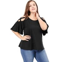 Allegra K  Women's Plus Size Trumpet Sleeves Strappy Cold Shoulder Top