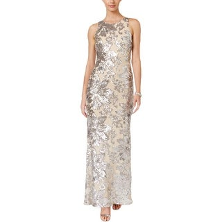 Betsy & Adam Womens Petites Semi-Formal Dress Mesh Sequined