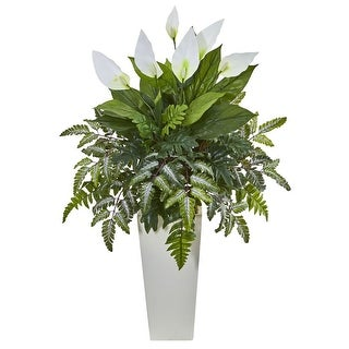 Nearly Natural Mixed Spathifyllum Artificial Plant in White Tower Vase