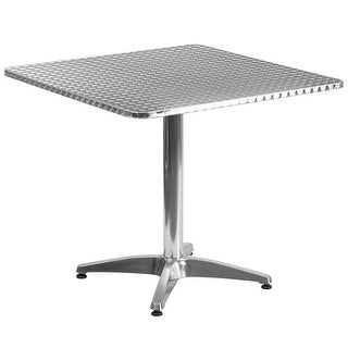 """Offex 31.5"""" Square Aluminum Indoor-Outdoor Table With Base"""