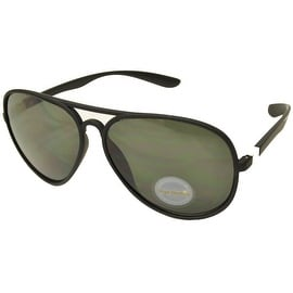 Aviator Sunglasses Black Flexible Frame Green Lens UV400