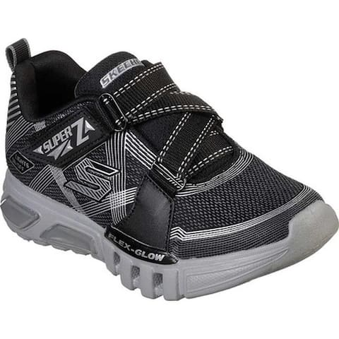 Skechers Boys' S Lights Flex-Glow Parrox Sneaker Black/Charcoal