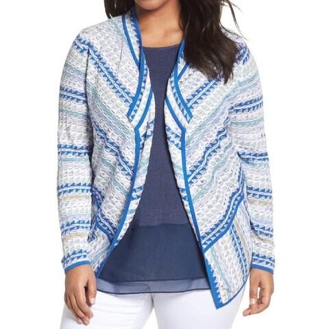 Nic + Zoe Blue Women's Size 3X Plus Geo Knit Open Cardigan Sweater