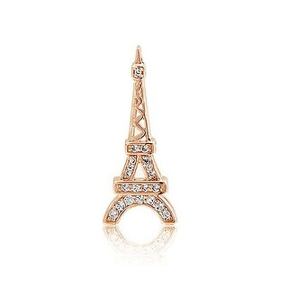 Bling Jewelry CZ Pave Eiffel Tower Travel Pendant Rose Gold Plated Silver - Pink