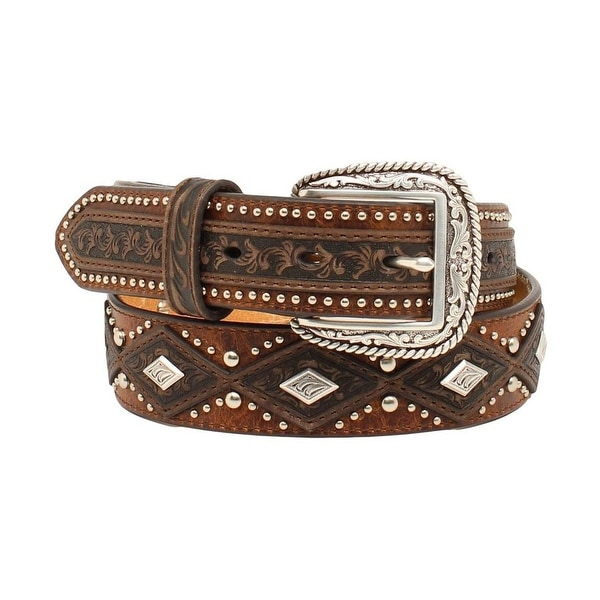 Ariat Western Belt Mens Diamond Conchos Nail heads Aged Bark