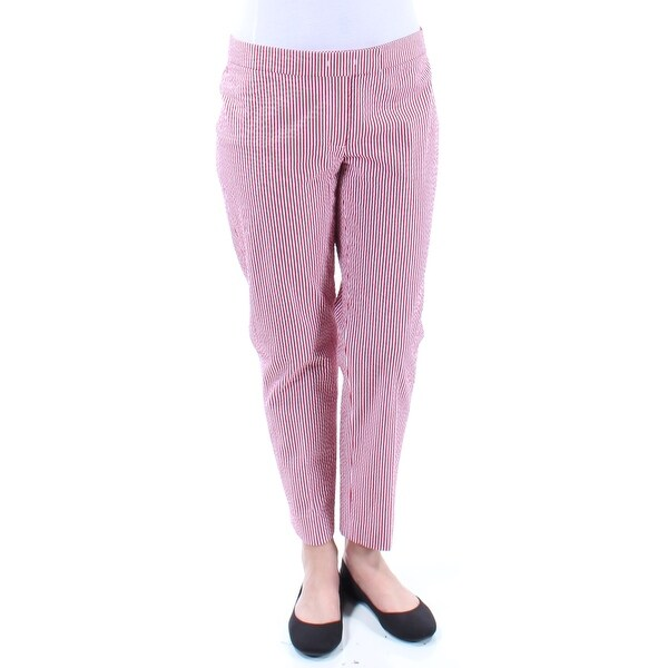 ANNE KLEIN Womens Purple Textured Striped Pants Size: 6