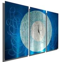 Statements2000 Silver/Aqua 38-inch Metal Hanging Wall Clock by Jon Allen - Aqua Moon