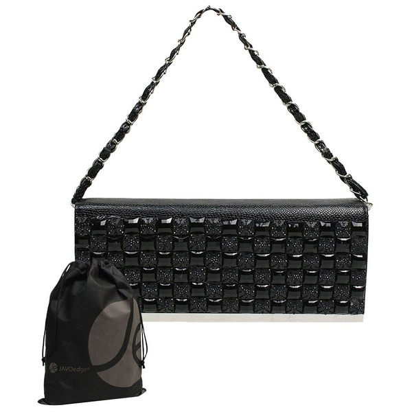 Black Square Gem Clutch Purse with Chain Strap