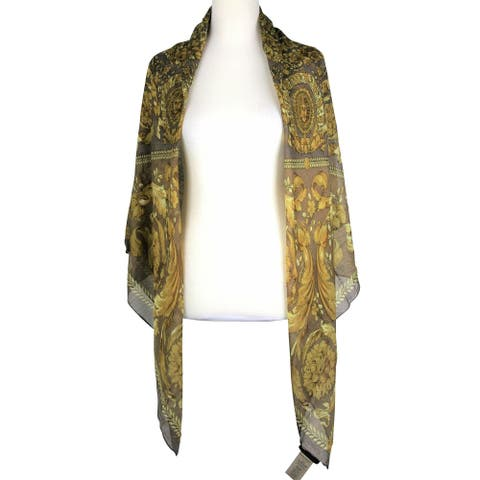 Versace Women's Breezy Floral Print Brown Modal Cashmere Large Scarf IFO14R1 IT1040 I7916