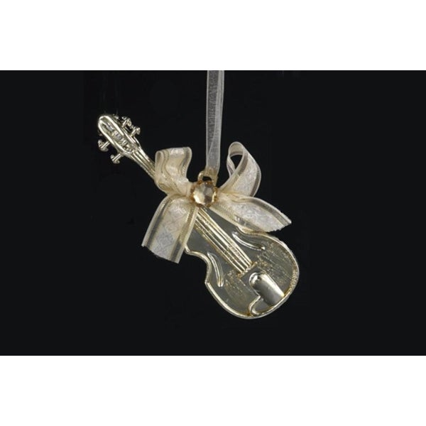 "3.5"" Champagne Guitar with Ribbon Bow Christmas Ornament"