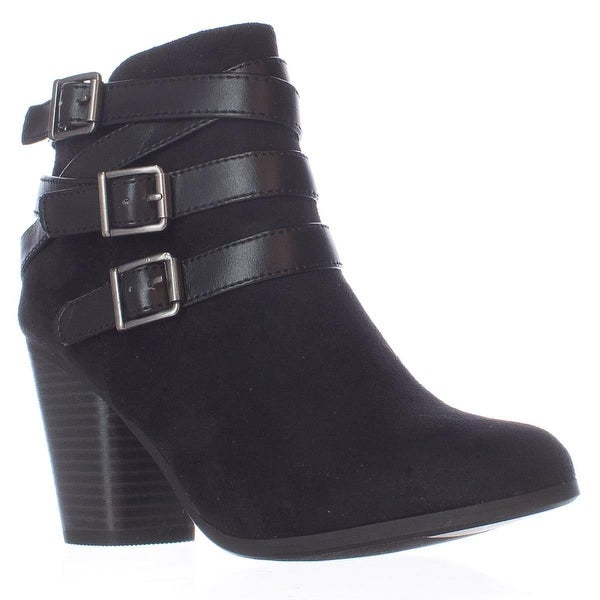 MG35 Minah Multi Buckle Strap Ankle Boots, Black