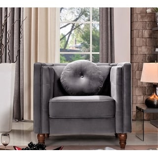 Us Pride Furnitureangie Classic Kittleson Chesterfield 2 Piece Set Chair Sofa Grey Dailymail
