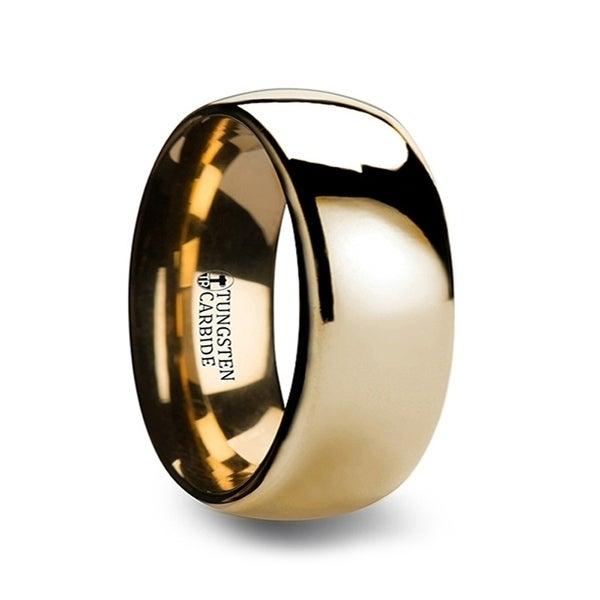 THORSTEN - ORO Traditional Domed Gold Plated Tungsten Carbide Wedding Ring - 10mm