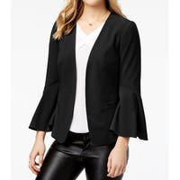 Kensie Black Deep Women's Size XS Open Front Bell-Sleeve Jacket
