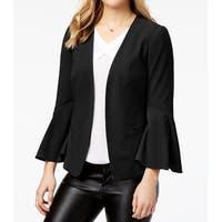 Kensie Black Women's Size Medium M Bell-Sleeve Open-Front Jacket