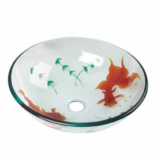 Renovator's Supply Tempered Glass Vessel Sink with Drain, Clear Single Layer Painted Koi Fish Bowl Sink