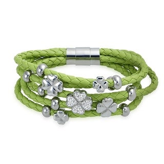 Bling Jewelry Green Lucky Four Leaf Clover Braided Leather Bracelet Steel