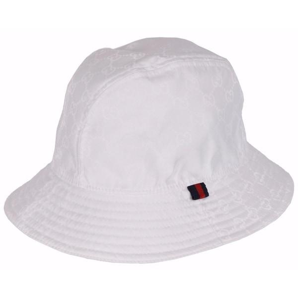 Gucci Men's 387558 WHITE GG Guccissima Nylon Bucket Rain Hat SMALL 57 CM