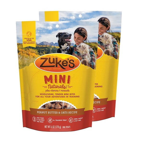 Zuke's Mini Naturals Peanut Butter & Oats Recipe 6 oz Dog Treats 2 Pack. Opens flyout.