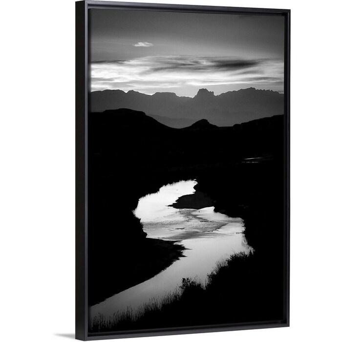 Sunset Over The Rio Grande Texas Black Float Frame Canvas Art Overstock 25515044