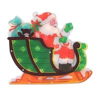 """17"""" Lighted Holographic Santa in Sleigh Christmas Window Silhouette Decoration - green"""