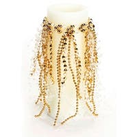"Pack of 6 Golden Color Beaded Candle Rings 8"" - GOLD"
