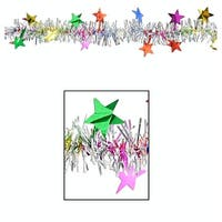 Club Pack of 12 Multi-Colored Metallic Star Tinsel New Year Party Garlands 12' - Unlit - Silver
