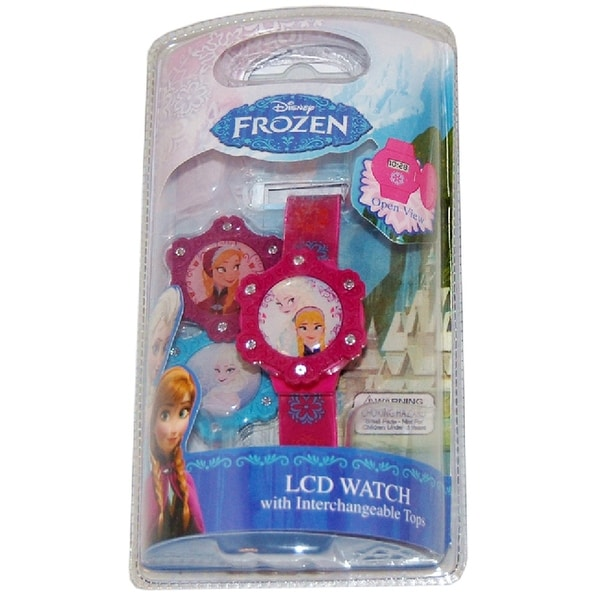 Frozen LCD Watch With Interchangeable Tops - Pink