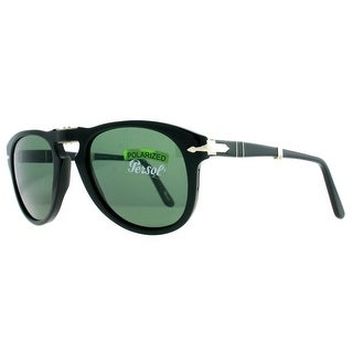 PERSOL Oval PO 0714 Unisex 95/58 Black Green Sunglasses - 52mm-21mm-140mm