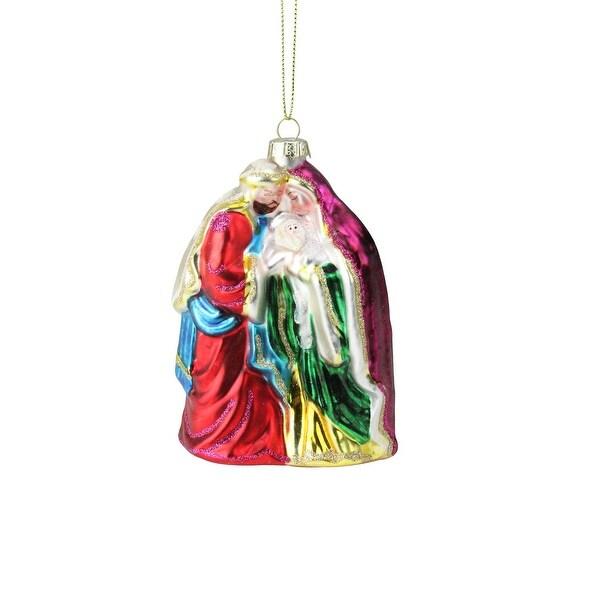 """5.5"""" Religious Holy Family Mary, Joseph & Jesus Glass Christmas Ornament - GOLD"""