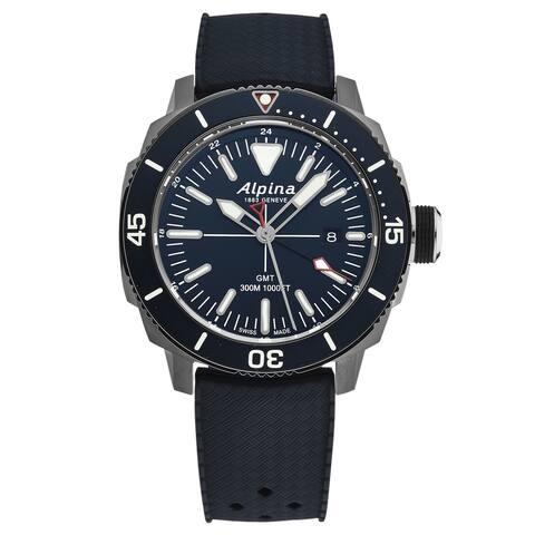 Alpina mens 'seastrong diver' gmt blue dial blue rubber swiss quartz watch al247lnn4tv6