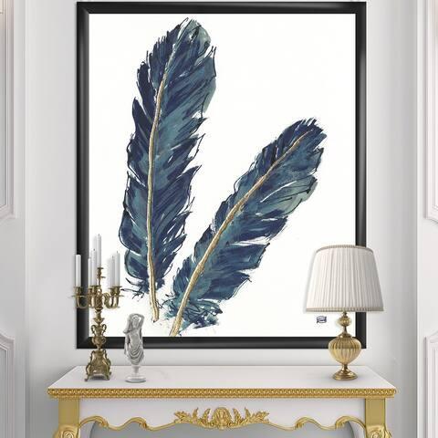 Designart 'Gold Indigo Feathers IV' Modern Bohemian Framed Art Print