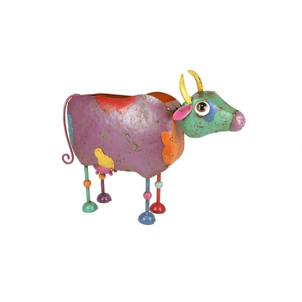 "20"" Vibrant Multi-Color Distressed Finished Cow Outdoor Garden Planter"
