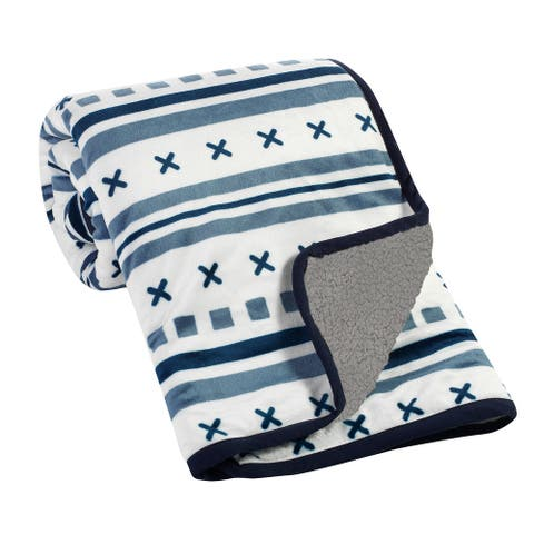 Lambs & Ivy Metropolis Blue/White/Gray Ultra Soft Minky & Sherpa Baby Blanket