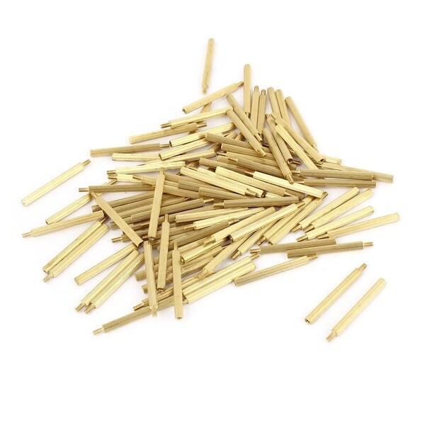 100Pcs Gold Tone Knurled Male Female Thread Column Pillars Standoff M2x29mm