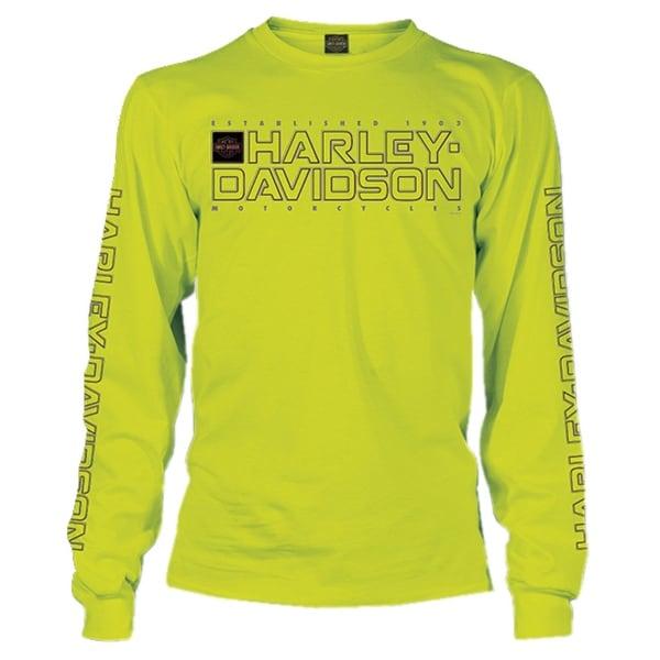 ffe8307d Harley-Davidson Men's Shakedown H-D Long Sleeve Crew-Neck Shirt, Safety  Green