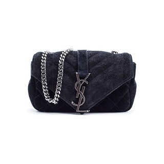 Saint Laurent Women's Black Suede Baby Monogram Shoulder Bag