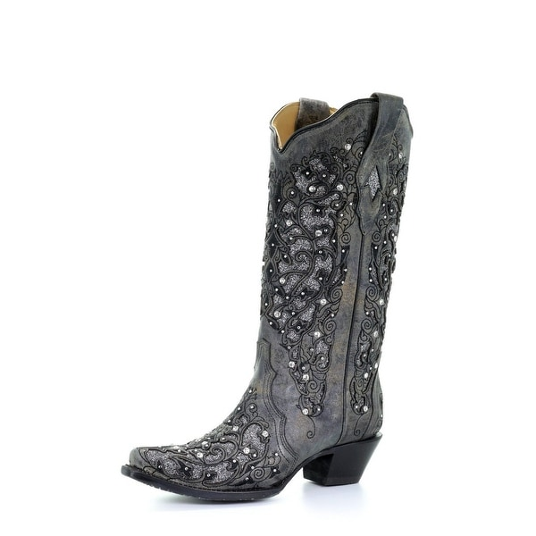 """Corral Western Boots Womens Glitter Inlay Floral 13"""" Gray. Opens flyout."""