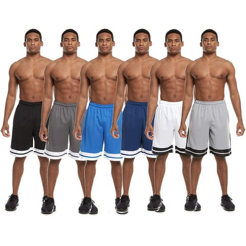Zupo 6 Pack: Mens Active Athletic Basketball Shorts with Pockets