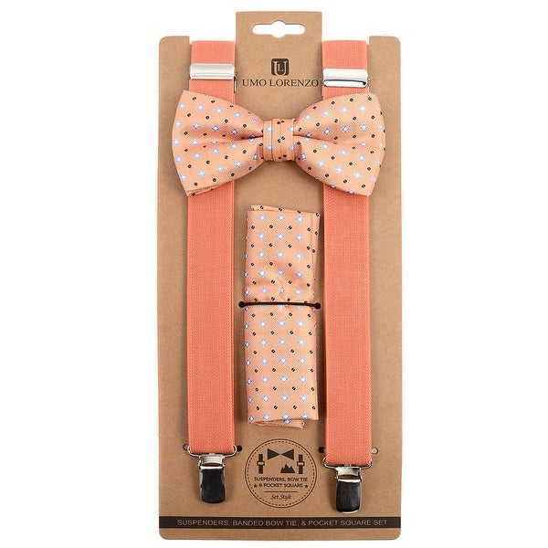 3pc Men's Peach Banded Suspenders, Floral Bow Tie and Hanky Sets - One Size Fits most