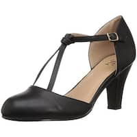 Journee Collection Womens Toni Round Toe T-Strap Classic Pumps
