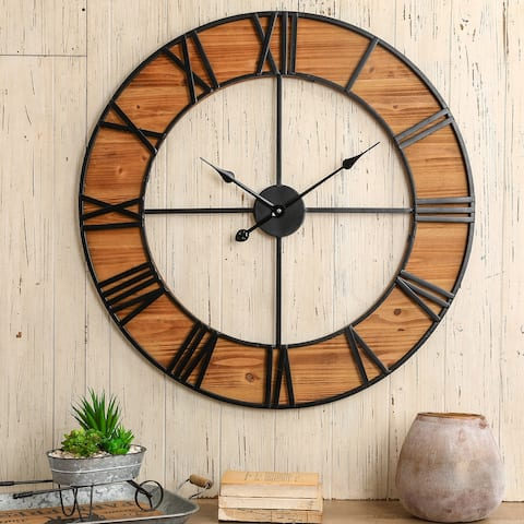 "Glitzhome 30""D Oversized Farmhouse Wooden and Metal Wall Clock"