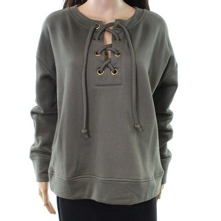 Harlowe & Graham Womens Large Lace-Up Pullover Sweater