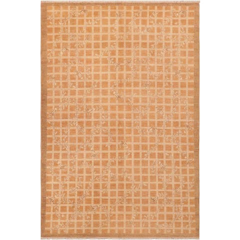 Contemporary Sun faded Laverna Rust/Tan Hand knotted Rug - 5'11 x 8'11 - 5 ft. 11 in. X 8 ft. 11 in.