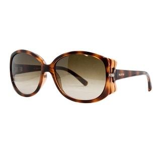 Valentino V 616 SR 215 Dark Havana Oversized Oval Sunglasses